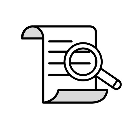 Line document information paper with magnifying glass vector illustration
