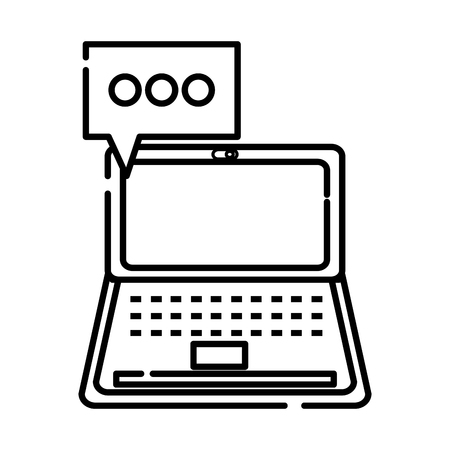 Line laptop technology with chat bubble message vector illustration.