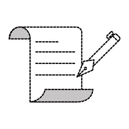 dotted shape business office document paper with pen vector illustration
