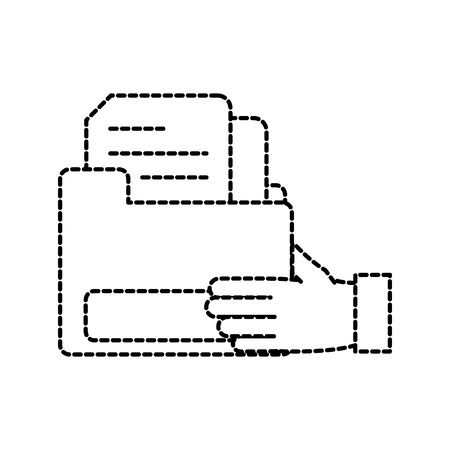 dotted shape man hand with file folder document vector illustration Vettoriali