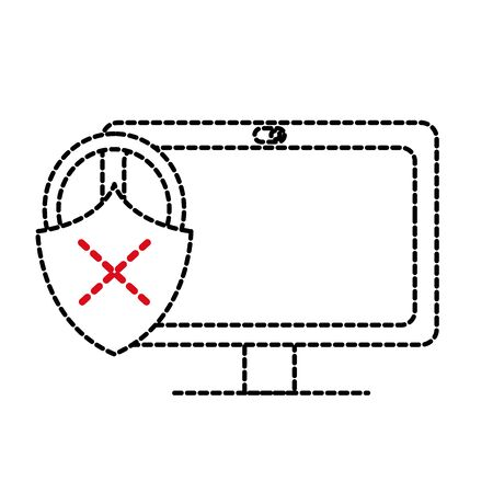 dotted shape computer technology with padlock bad security vector illustration