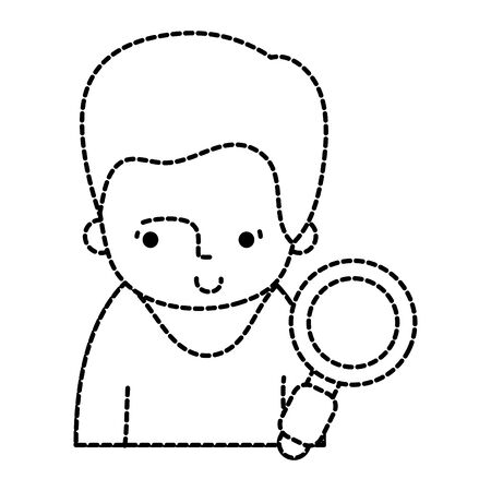 dotted shape man with hairstyle and magnifying glass object vector illustration