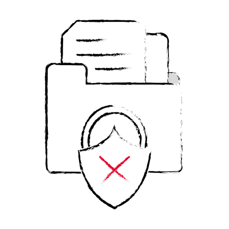 grunge file folder with documents and padlock bad security vector illustration  イラスト・ベクター素材