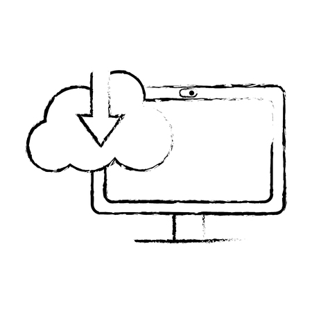 grunge computer technology with cloud data downloading vector illustration