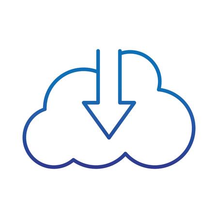 degraded line cloud data connection downloading server vector illustration