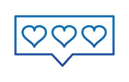 degraded line hearts love symbol inside chat bubble vector illustration Ilustração