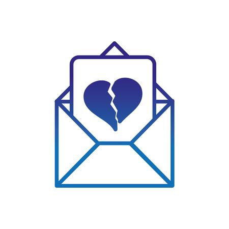 degraded line love letter to heart broken message vector illustration Vectores