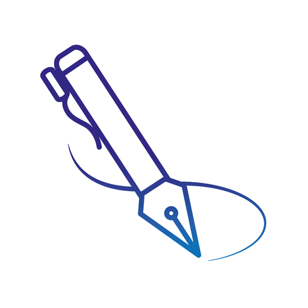 degraded line metal business feather pen to write vector illustration