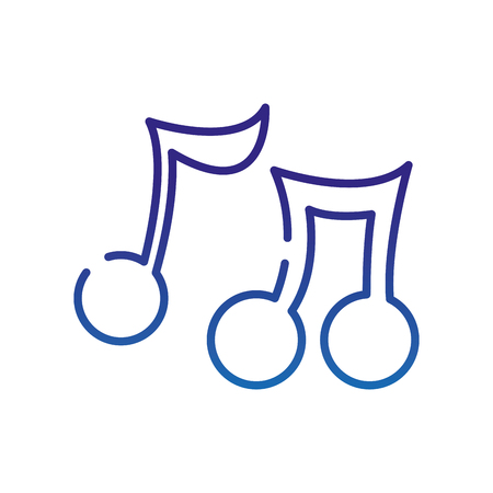 degraded line music notes tone with sound rhythm vector illustration