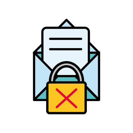 line color e-mail letter message with padlock bad security vector illustration