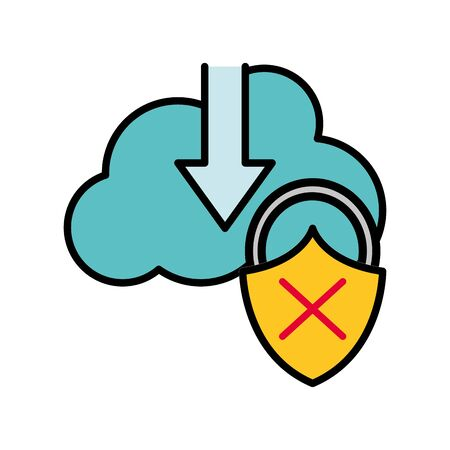 line color cloud data downloading and padlock bad security vector illustration