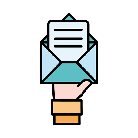 line color man hand with e-mail message information vector illustration 일러스트