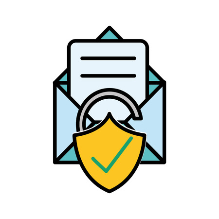 line color e-mail letter message with good padlock protection vector illustration Illustration