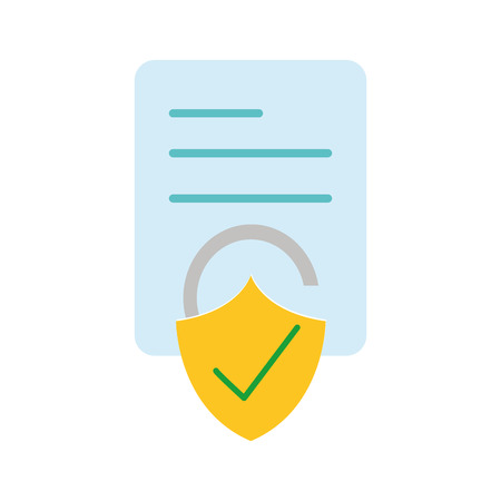 Business document paper with padlock illustration