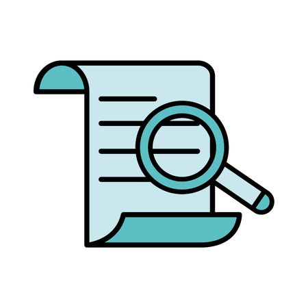 line color document information paper with magnifying glass Illustration