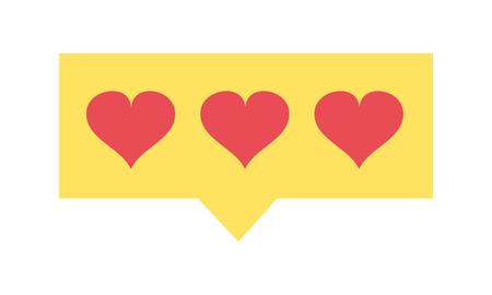 Colorful hearts love symbol inside chat bubble vector illustration. Illustration
