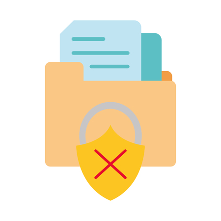 colorful file folder with documents and padlock bad security