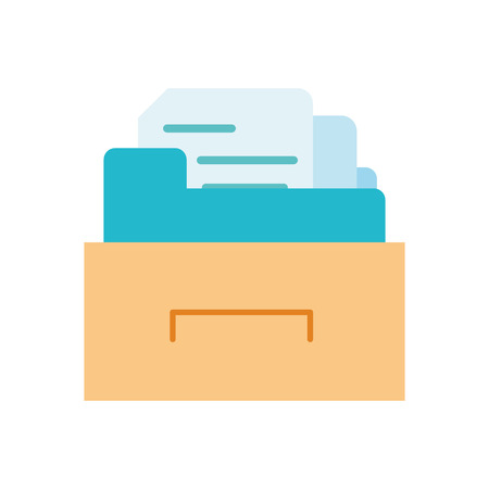 Colorful cabinet file folder with document archive vector illustration. Stock Illustratie
