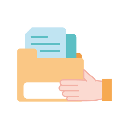 colorful man hand with file folder document