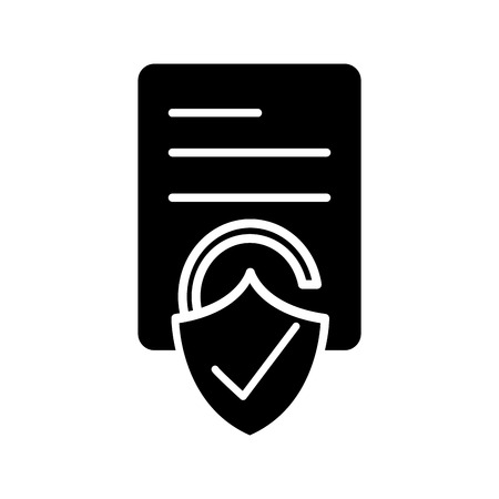 Silhouette business document paper with padlock good security vector illustration.
