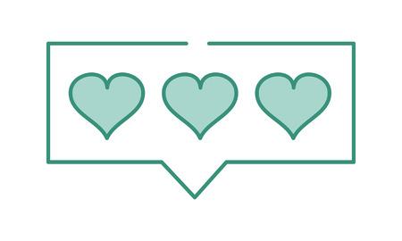 duo color hearts love symbol inside chat bubble
