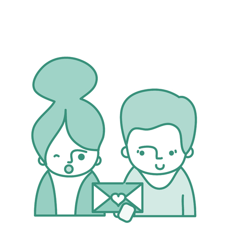 Color couple with clothes and love letter message vector illustration.