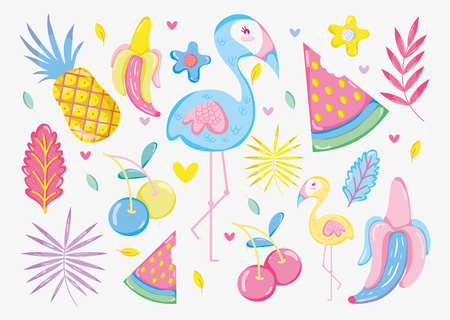 Punchy pastel flemish and fruits vector illustration graphic design Illustration