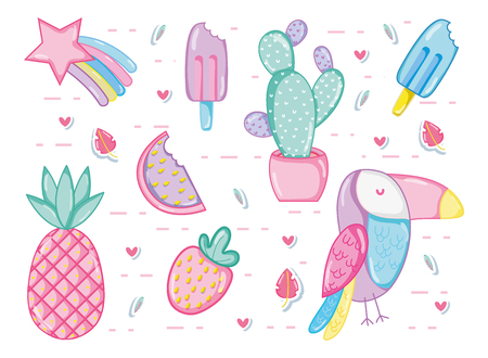 Punchy pastel cartoons collestion vector illustration graphic design