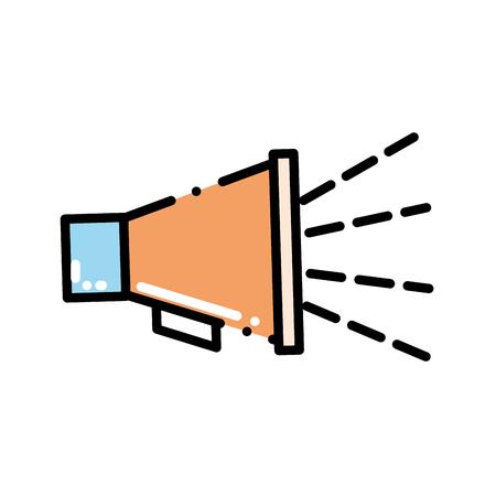 Informazioni sul messaggio di comunicazione audio con megafono a linea tratteggiata Archivio Fotografico - 96899915