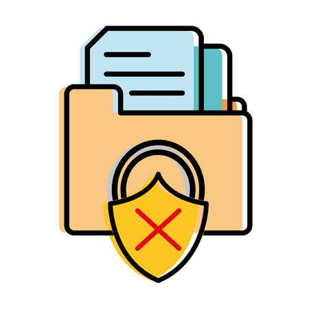 moved color file folder with documents and padlock bad security Vectores