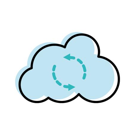 moved color cloud data upload connection server vector illustration