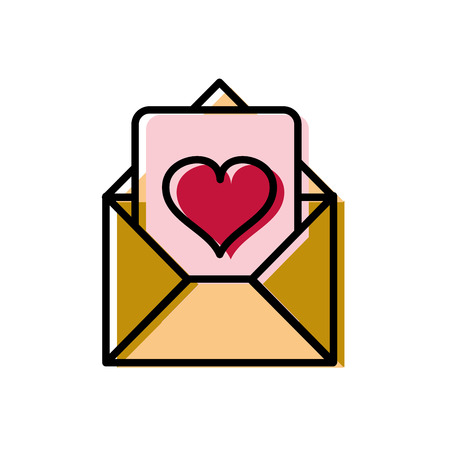 moved color love letter message to passion style vector illustration