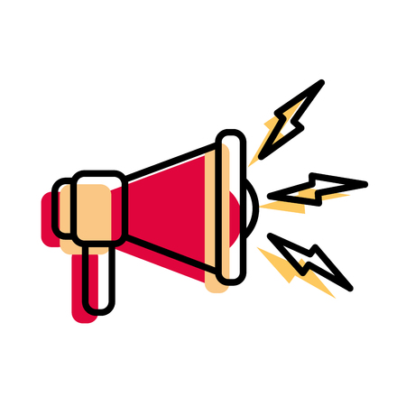moved color megaphone sound audio message communication vector illustration Illustration