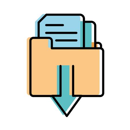 moved color file folder downloading documents information vector illustration
