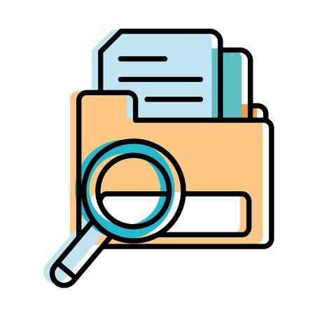 moved color document inside folder file with magnifying glass vecctor illustration Illustration