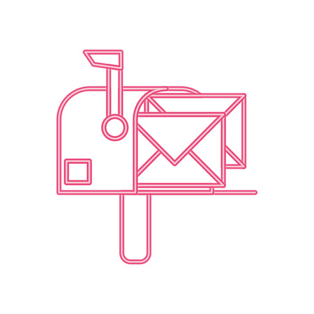 neon line correspondence mailbox with post letter message vector illustration Vettoriali