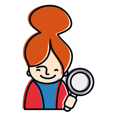 moved color woman with blouse and magnifying glass tool vector illustration