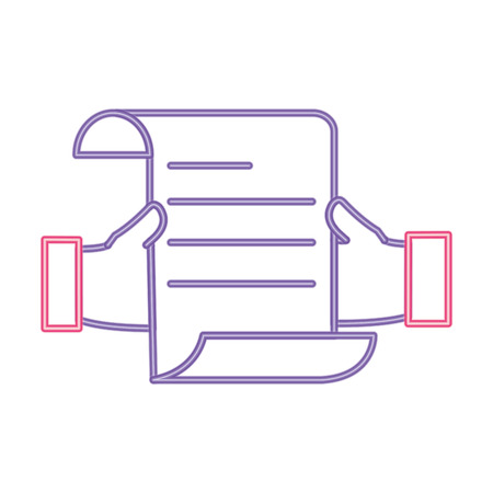 neon line man hand with business document information vector illustration