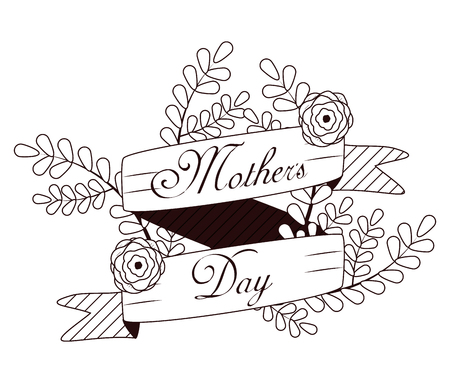 Happy mothers day card with beautiful flowers on black and white colors