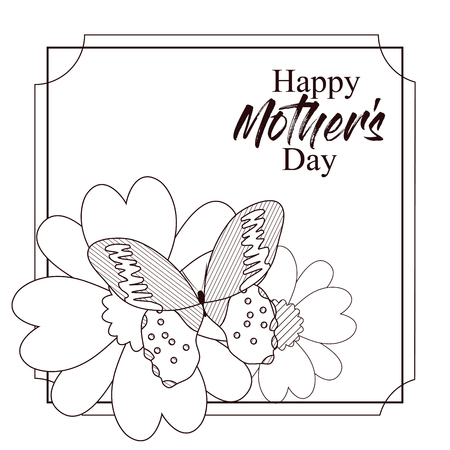 Happy mothers day card with beautiful butterflies and flowers on black and white design Vettoriali
