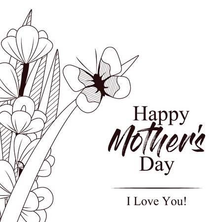 Happy mothers day card with beautiful butterflies and flowers 96904248 happy mothers day card with beautiful butterflies and flowers on black and white design mightylinksfo