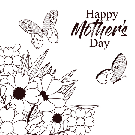 Happy mothers day card with beautiful butterflies and flowers 96900606 happy mothers day card with beautiful butterflies and flowers on black and white design mightylinksfo