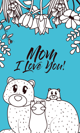 Happy mothers day card with cute bears cartoon black and white colors vector illustration graphic