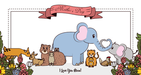 Happy mothers day card with cute animals cartoon colorful vector illustration graphic Vectores