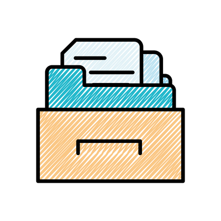 grated cabinet file folder with document archive vector illustration Illustration