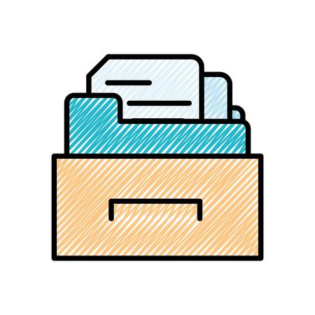 grated cabinet file folder with document archive vector illustration Illustration