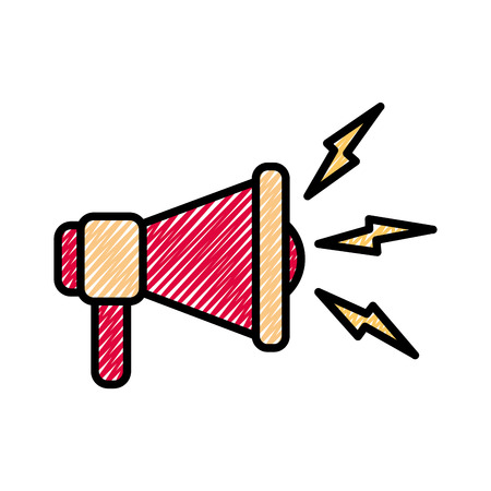 grated megaphone sound audio message communication vector illustration Illustration