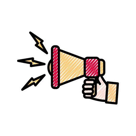 grated man hand with megaphone sound message vector illustration