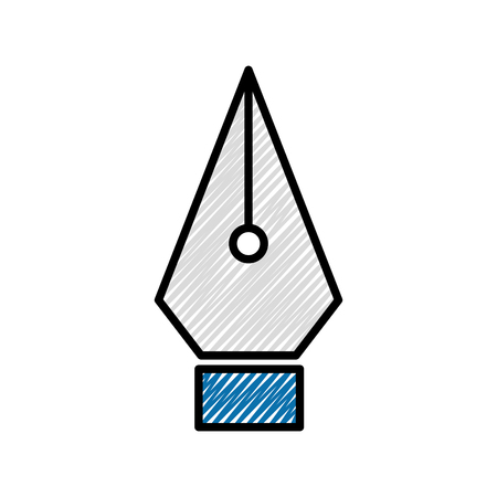 grated metal office feather pen tip vector illustration