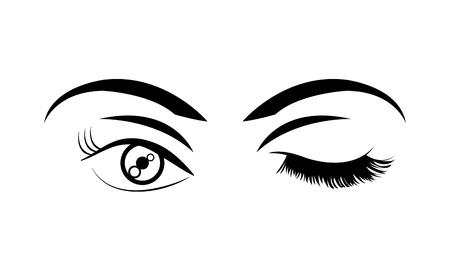 woman stinging eye with eyebrows and eyelashes vector illustration Ilustração